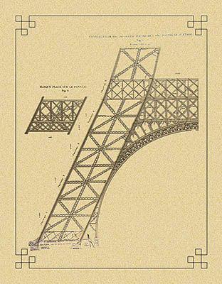 Detalhe do projeto de uma das colunas, com o arco inclinado
