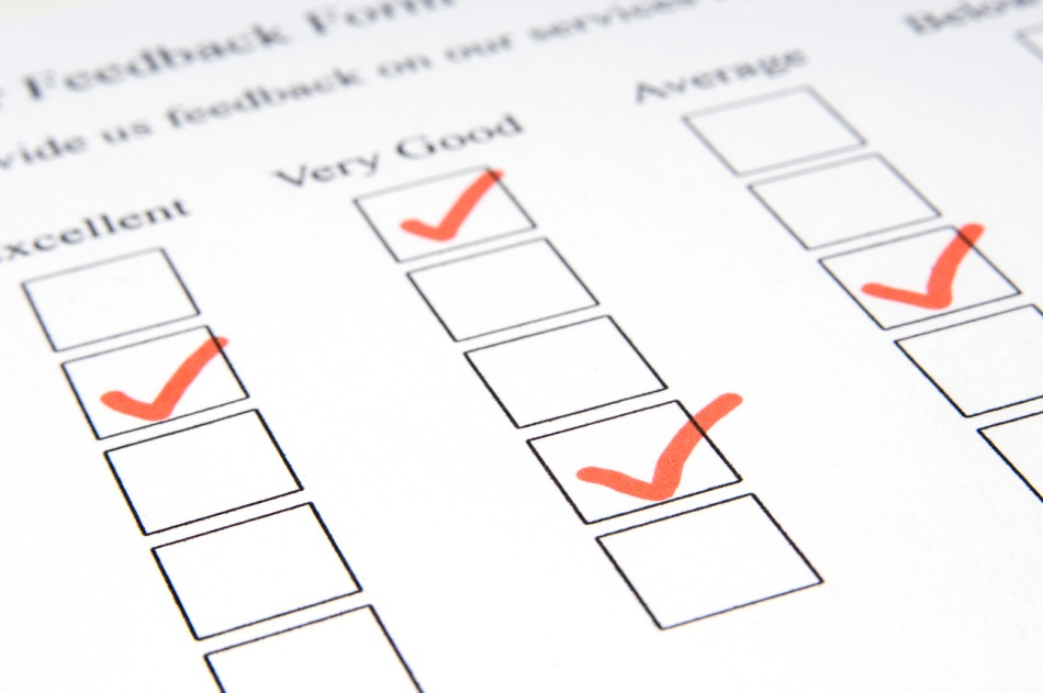 Close-up of a customer feedback form