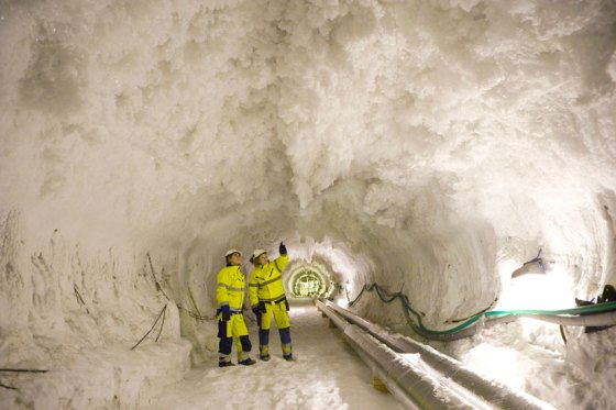 Solo congelado para construção de um túnel na Suécia