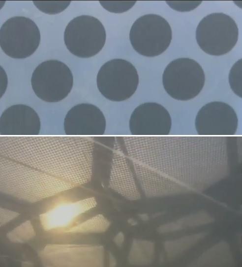 Detalhe dos pontos na superfície do ETFE. Fonte:  National Geographic Channel