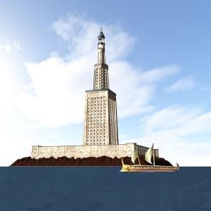 Esquema tridimensional do Farol de Alexandria. Fonte: Wikipedia