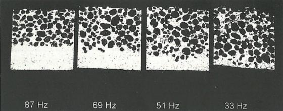 Segregação do concreto leve pela frequência de vibração (Fonte: VIEIRA, 2000)
