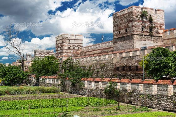 Famous ancient walls of Constantinople in Istanbul, Turkey